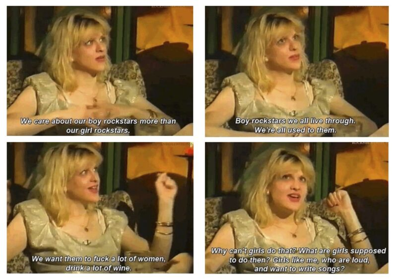 Entrevista de Courtney Love sobre mulheres no rock.
